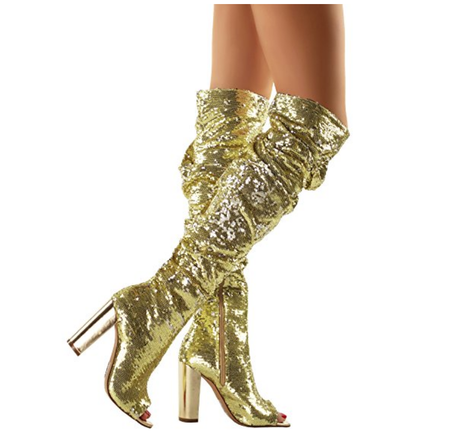 Damenschuhe Gold Sequins Over The High Knee Peep Toe High The Heel Stiefel 73d718