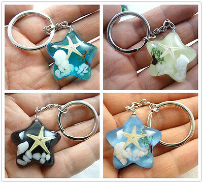 1PC//5PC//10PC fashion pentacle Starfish shell cool grass  key chain