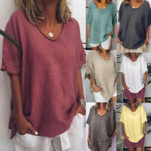Womens-Summer-Tunic-Tops-Ladies-Short-Sleeve-Solid-T-Shirt-Blouse-Plus-UK-14-28