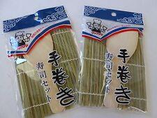 2 PCS. Japanese Bamboo Hand Roll Sushi Maker Mat, Shamoji Wooden Rice Paddle Set