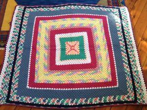 Vtg-Handmade-Crochet-Arcylic-Rainbow-Granny-Square-Blanket-Afghan-Throw-54x60
