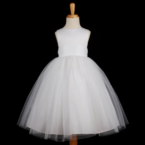 White Wedding Flower Girl Dress First Communion Bridesmaid 12M 18M 2 4 6 8 10 12