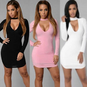 Hot-Women-Long-Sleeve-V-Neck-Bodycon-Party-Cocktail-Mini-Dress-Sexy-Dress