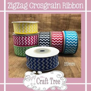 Zig Zag Chevron Grosgrain Ribbon 25mm Wide
