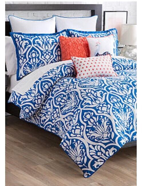 3 Pc Twin Twin XL Comforter Set New Directions Brianna Indigo White New