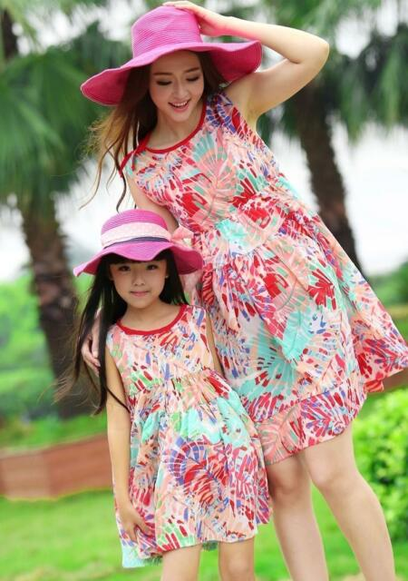 New Fashion Bohemia FAMILY Dress New Summer Woman Girl Floral Dresses Vest dress