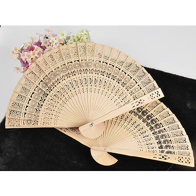 retro Wedding Bridal Party Folding Bamboo fan Original Wooden Carved Hand Fans