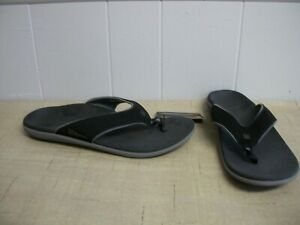 Mens-Spenco-YUMI-Black-Toe-Post-Thong-Flip-Flop-Sandals-Shoes-Size-10-WIDE-NEW