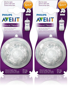 Philips AVENT BPA Free Natural Nipple Shape Fast Flow 6m+ 2 Pack 2 Count