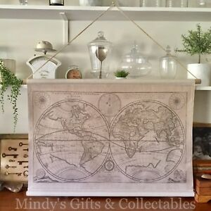 Details About 94cm Wide Printed Canvas On Wooden Hanger Vintage Wall Art World Map
