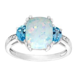2-3-8-Ct-natuerlicher-OPAL-amp-Schweizer-Blau-Topas-Ring-mit-Diamanten-in-Sterlingsilber