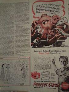 Automobilia Erfinderisch 1948 Perfekter Kreis Kolbenringe Slinky Sue Öl Schwein Motor Parts Aufdruck
