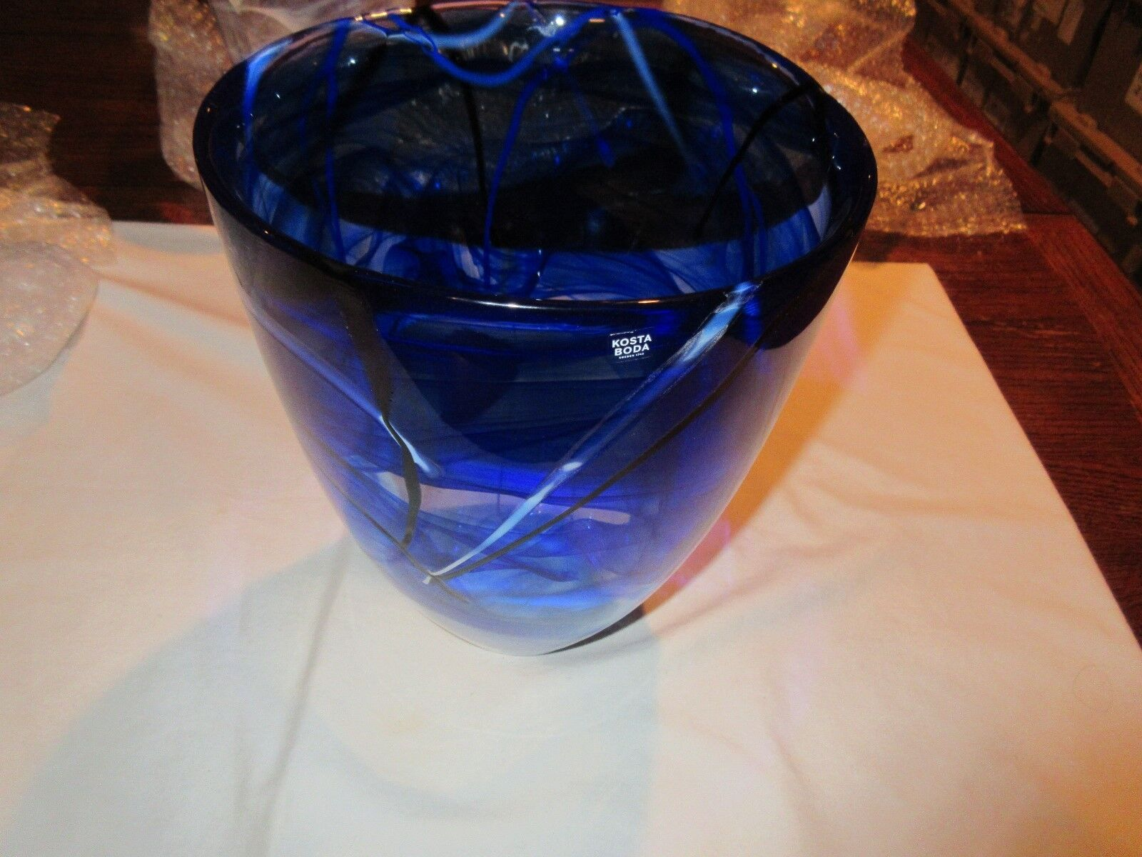 Glass, Kosta Boda, Large Dark Blue With Light Blue Acce