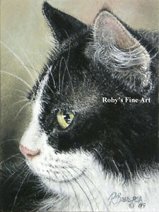 Tuxedo-Cat-Art-Print-034-Phat-Tux-034-Giclee-5-034-x7-034-Image-by-Realism-Artist-Roby-Baer
