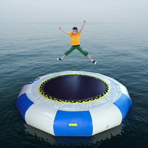 10Ft Inflatable Bounce Water Bouncer Water Trampoline Swimming Sport w// Inflator