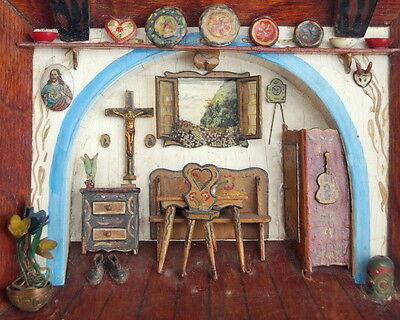 Wandbild - Diorama - Puppenstube - Holzkastenbild -  19. Jahrhundert  (# 6813)
