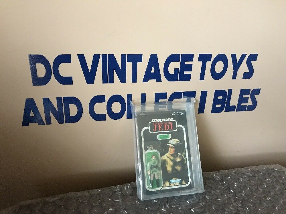 Star Wars Vintage redJ Carded Princess Leia (Combat Poncho) AFA 85 NM+ Kenner