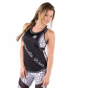Gorilla-Wear-Womens-Florida-Stringer-Tank-Top-Black-White-Fitness