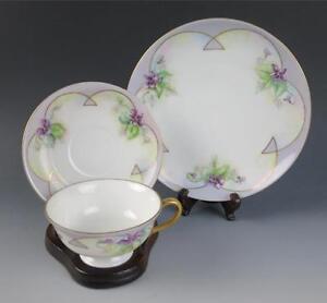 Antique Hand Painted ARTIST SIGNED Porcelain Trio CUP & SAUCER & PLATE VIOLETS