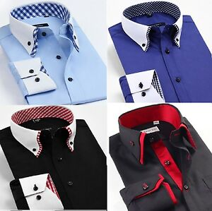 Elegante-Casual-Da-Uomo-Doppio-Colletto-Slim-Fit-Camicia-Formale-Italiano-Design-DC02