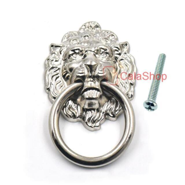 Vintage Lion Head Furniture Door Pull Handle Knob Cabinet Dresser Drawer Ring US