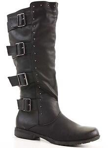 Womens-Winter-Biker-Style-Slouch-Low-Flat-Heel-Wide-Calf-Leg-Knee-Boots-Size