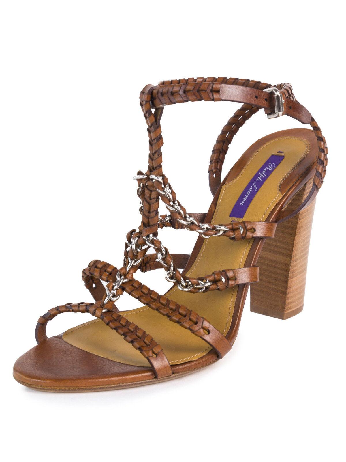 RALPH LAUREN Purple Label Brown Stacked Heel Braided Sandals Sz 10  575 NEW