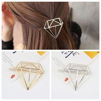 1X Gold/Silver Women Diamond Shape Hair Clip Barrette Hairpin Bobby Pin Decor