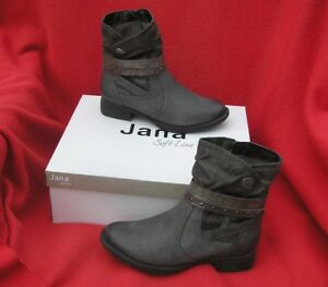 detailed look c714b 608b5 Details about BNIB size 3.5 JANA grey faux leather ankle boots with bronze  & gold straps