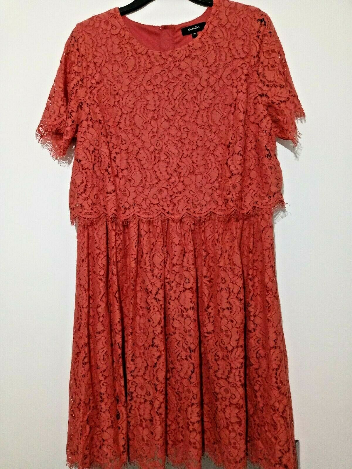 NEW Simply Be Coral Lace layered dress Size 20 Ref L28U wedding guest