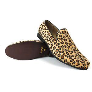 Men-039-s-Tan-Leopard-Print-Slip-On-Modern-Dress-Shoes-Loafers-New-Fashion-AZARMAN