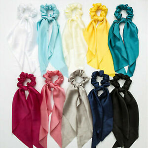 Elastic-Ribbon-Solid-Hair-Ties-Rope-Band-Bow-Scarf-Ponytail-Holder-Scrunchie-1PC