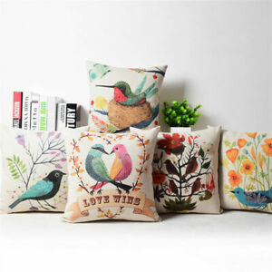 "Decorative Christmas Cushion 18/"" Linen Case Pillow Bird Flower Cover Cotton"