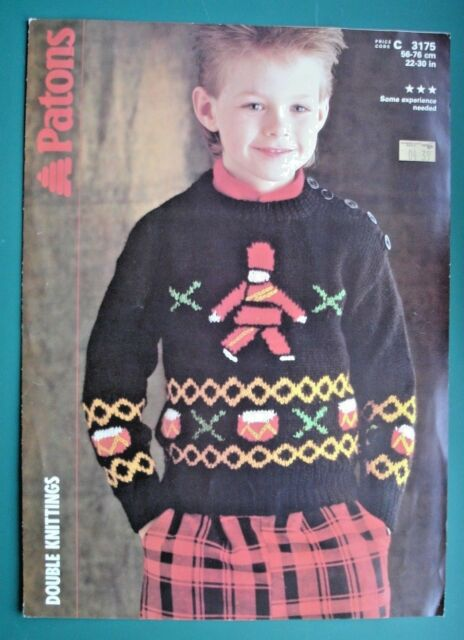d1c90d82884d80 Patons 3175 - Knitting Pattern -  Little Drummer Boy  Double Knit Sweater  ...