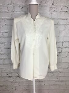 EASTEX-Cream-Long-Sleeve-Silky-Feel-Embroidered-Detail-Blouse-Top-Size-10