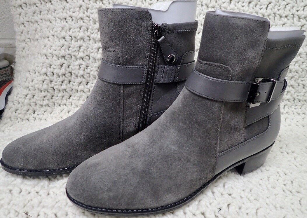 Isaac Mizrahi Live  SARAN Suede Ankle Boots with Leather Straps 7.5 M Grey NIB