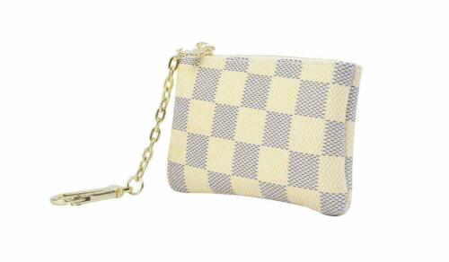 NEW Checkered Ivory Zipper Wallet Pochette Cles Key Pouch Coin Purse