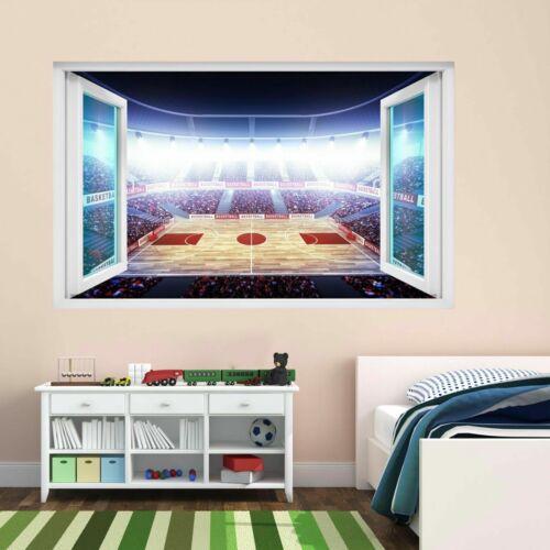 Terrain de Basket Arena Enfants Chambre à coucher 3D Autocollants Muraux Mural Decal Papier Peint CT70