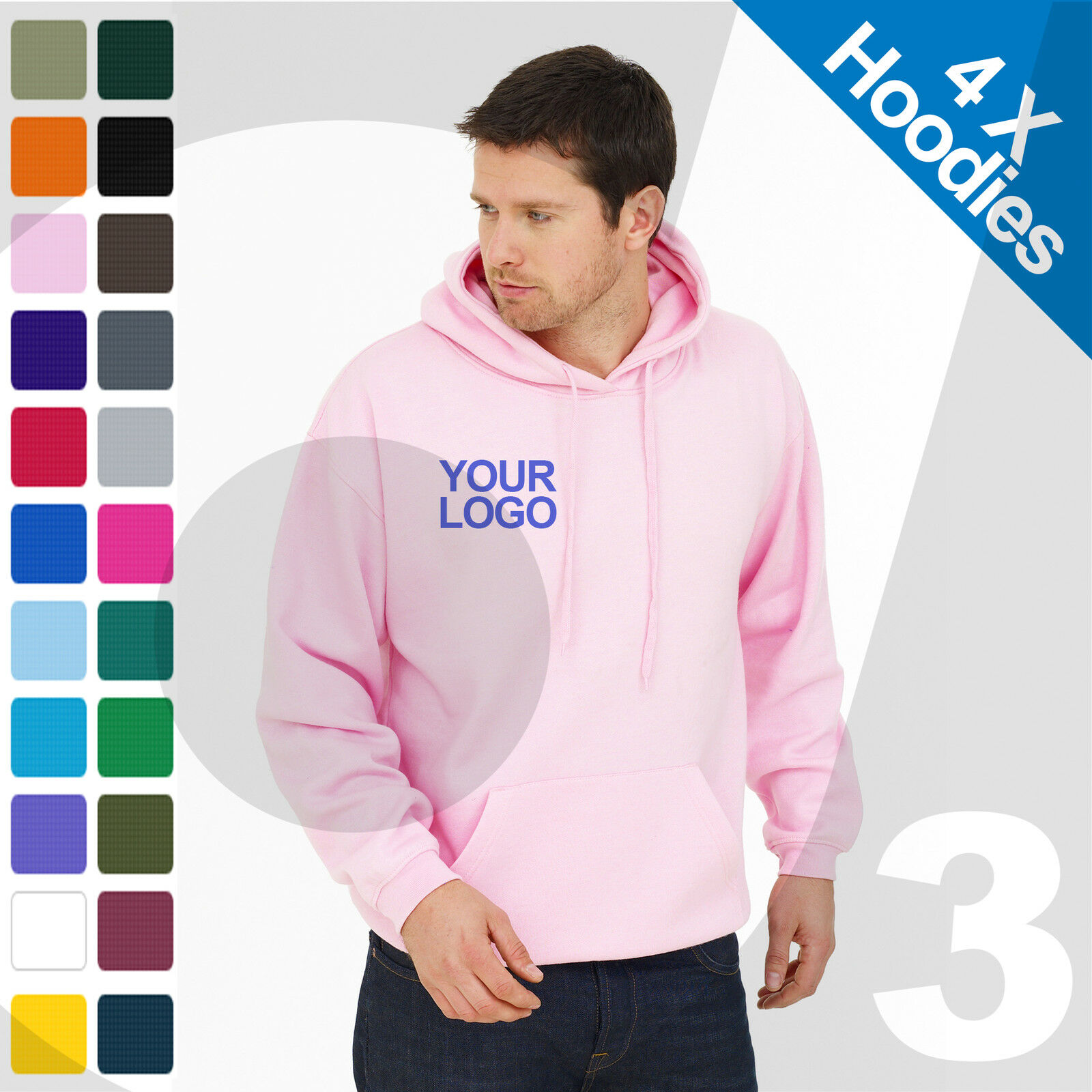 4 X Personalised EmbroideROT / Printed Hoodies Customised Workwear Text/Logo
