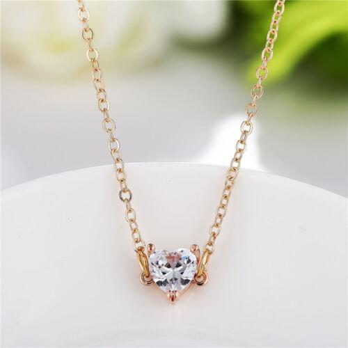 Cute Love Heart Pendant Necklace Simple Collar Choker Chain Charm Women Jewelry