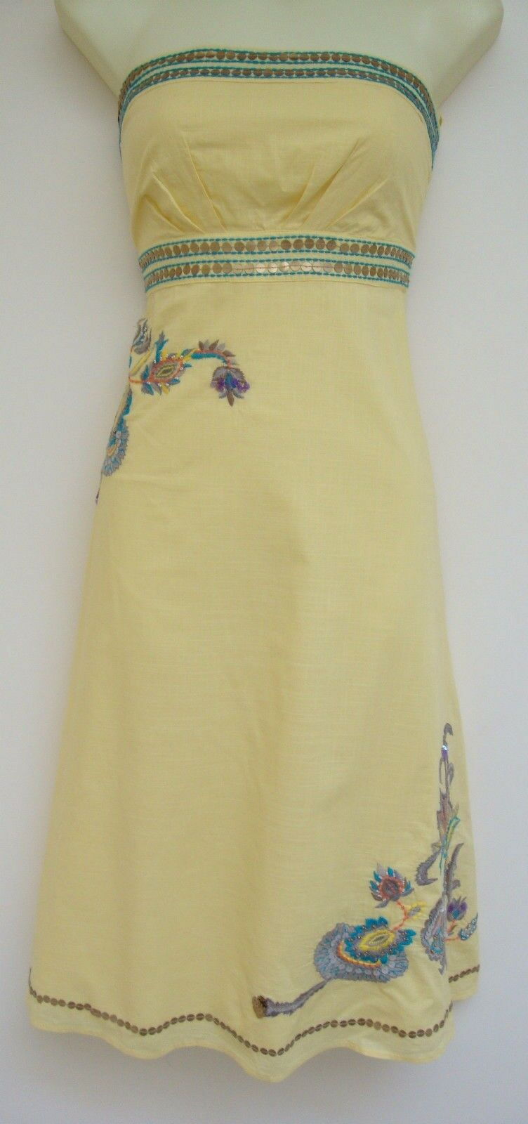 MONSOON ANNALISA YELLOW EMBROIDERED COTTON DRESS 10 - a