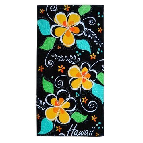 """Hawaiian Hawaii Beach Bath Towel 60/"""" x 30/"""" ~ Blk Island Plumeria #50301 Pool"""