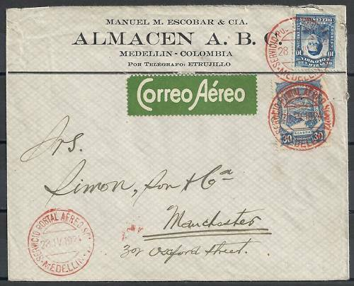 Colombia 1924 SCADTAcover from Medellin to Manchester
