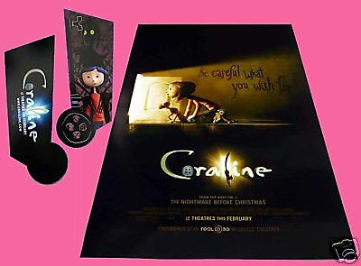 Coraline Original Movie Promo Poster Dakota Fanning Teri Hatcher Ebay