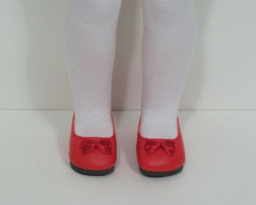 "RED Princess Flats Doll Shoes For 14/"" Am Girl Wellie Wisher Wishers Debs"