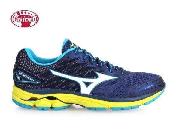 Mizuno Wave Rider 20 2E Zapatillas Para Correr Para Hombres-J1GC170407 Azul Amarillo 2E Ancho