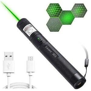 POINTEUR LASER PUISSANT VERT CHARGE CABLE USB GREEN 1mW 10KM LONGUE PORTEE NEUF