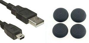 PS3 Thumb Grips + USB-Kabel,Controller-Ladekabel,für PS3 Kabellänge: 1,8 Meter