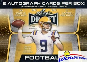 2020-Leaf-Draft-Football-HUGE-Factory-Sealed-20-Pack-Blaster-Box-2-AUTOGRAPHS