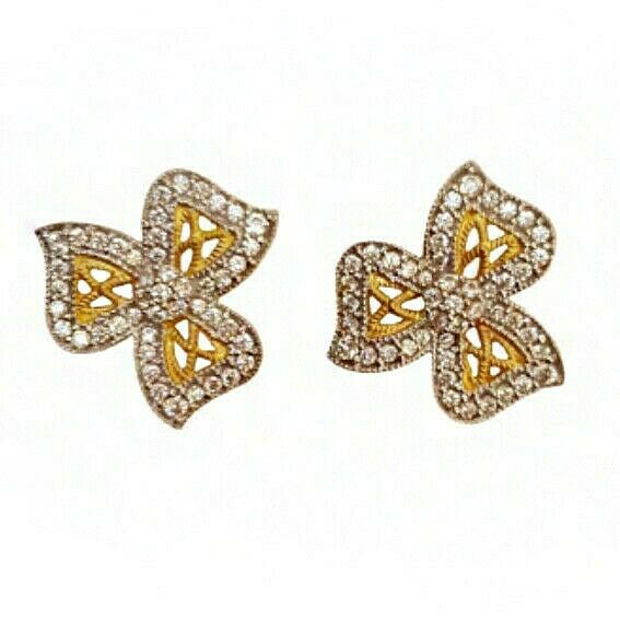 18 Kt Yellow gold Cubic Zirconia Party Wear Wedding Wear Women's Stud Earrings
